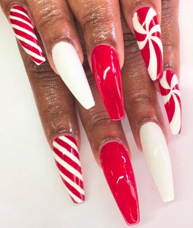 peppermints nail art by Kristen Lovett