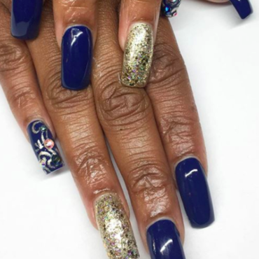 blue nail art by Kristen Lovett