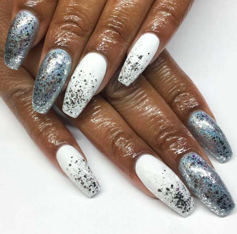 glitter on glitter nail art by Kristen Lovett