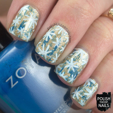 Gold shimmer blue distressed star pattern nail art 4 thumb370f