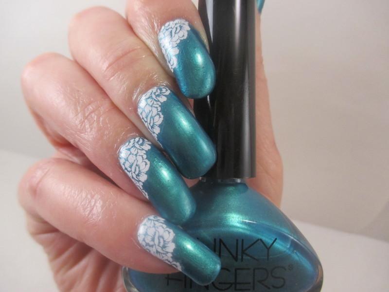 Emerald Green nail art by NinaB