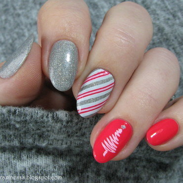 Pink Christmas nail art by Nail Crazinesss