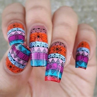 colorful aztec  nail art by nailsofkh