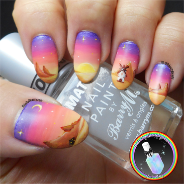 Freehand Desert Sunset nail art by Ithfifi Williams