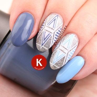 Blue geometric glitter naisl nail art by Claire Kerr