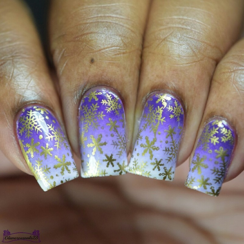 Nail Crazies Unite Day 12 - Gold Snowflakes nail art by glamorousnails23