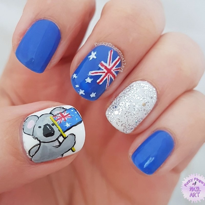 Australia day  nail art by Funky fingers nail art