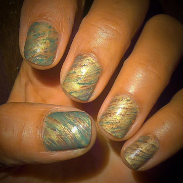 Gold, Olive and Brown  nail art by Avesur Europa