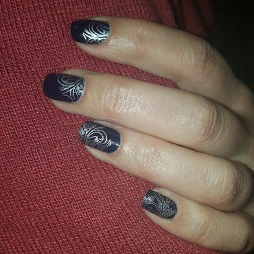 Blue & Silver nail art by Katarinna