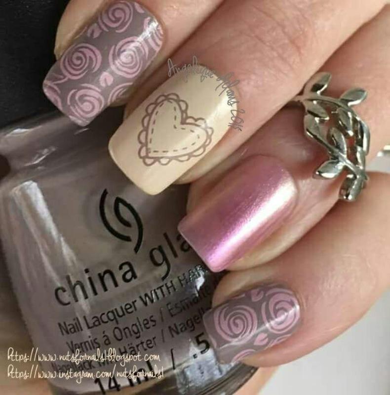 Vintage Valentines  nail art by Angelique Adams