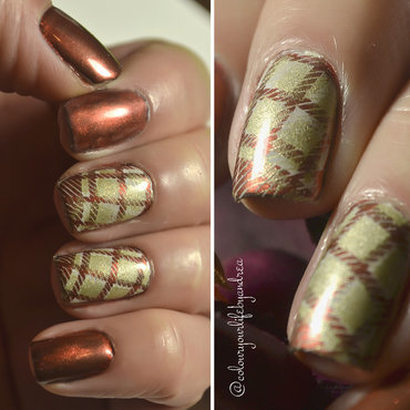 Plaid nails nail art by Andrea  Manases