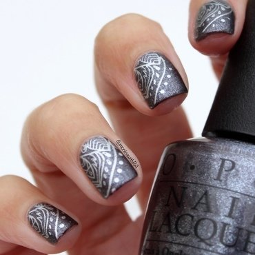 A Subtle Silver Mandala nail art by Monica