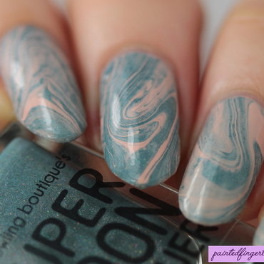 Turquoise and nude drip marble nail art by Kerry_Fingertips