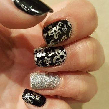 Black and Silver nail art by Katarinna