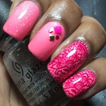 Pretty in Pink nail art by Chloe Jay