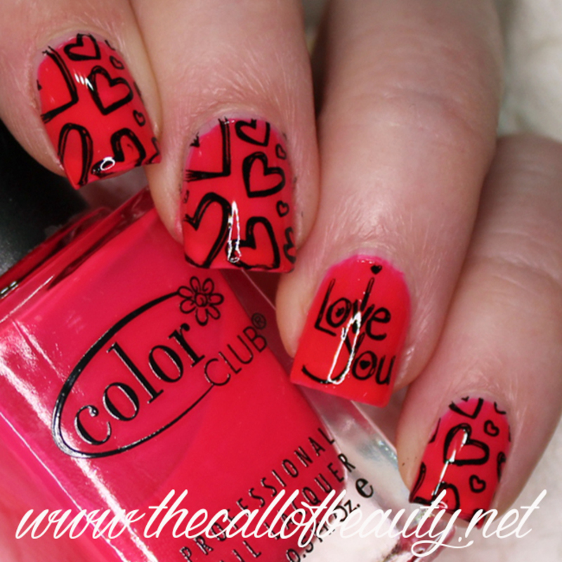 Black & Neon Pink Valentine's Manicure nail art by The Call of Beauty