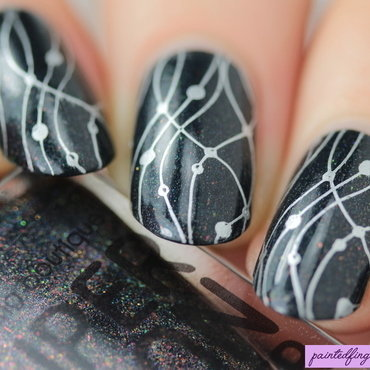 Silver streamers nail art by Kerry_Fingertips
