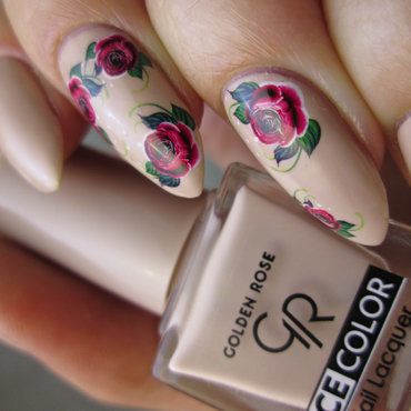 Floral water decals over nude nail art by Yenotek