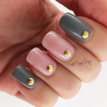 Pink And Grey Nails nail art by Make Nail Art