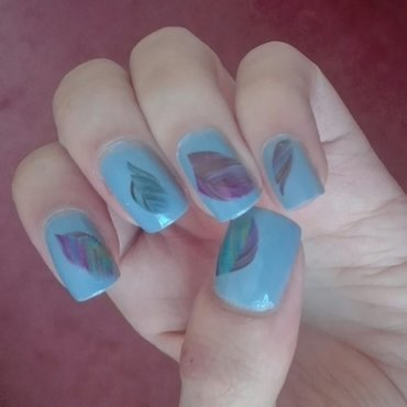 Feather decals nail art by Daisyq
