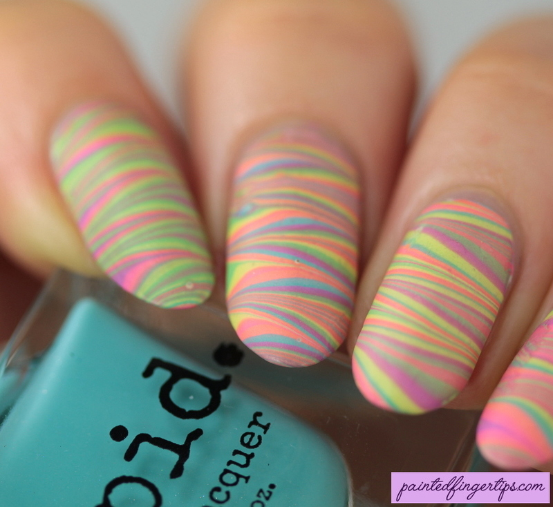Pastel neon water marble nail art by Kerry_Fingertips