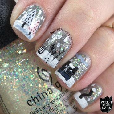 Grey glitter winter snow cat pattern nail art 4 thumb370f