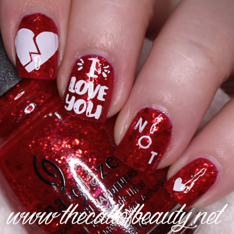 Anti Valentine Broken Heart nail art by The Call of Beauty