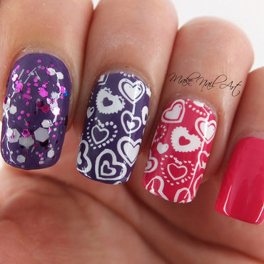 Stamping Hearts nail art by Make Nail Art