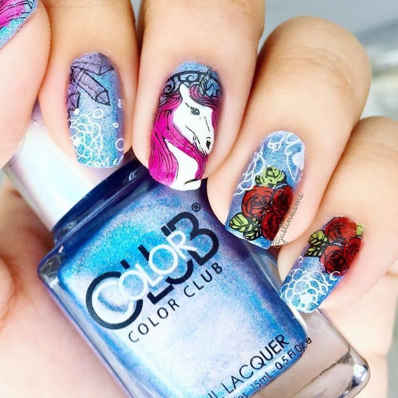 Unicorn Heaven nail art by ℐustine