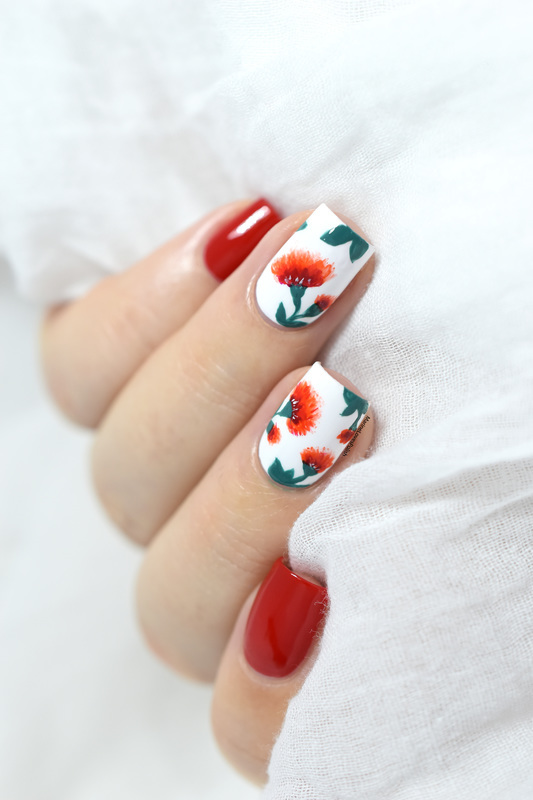 Fiery Flowers nail art by Marine Loves Polish