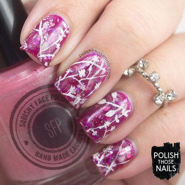 Pink jelly glitter autumn leaves nail art 4 thumb370f