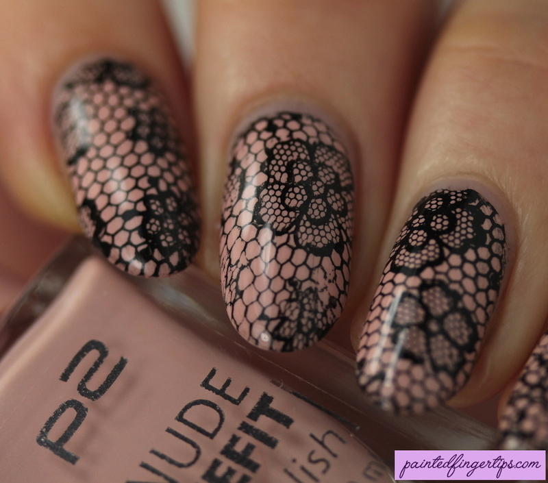 Naked lace nails nail art by Kerry_Fingertips