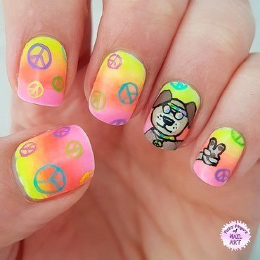Peace nails nail art by Funky fingers nail art