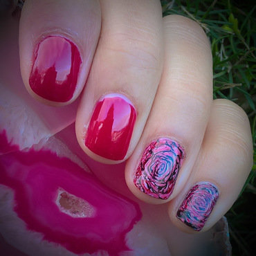 Pink, Red & Black for When Colours Collide nail art by Avesur Europa