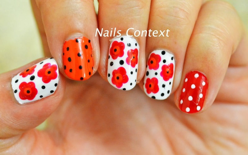 Red and Orange Florals  nail art by NailsContext