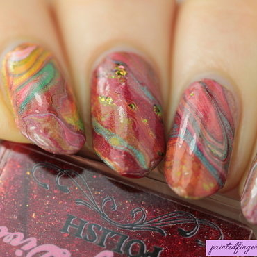 Phoenix drip marble nail art by Kerry_Fingertips