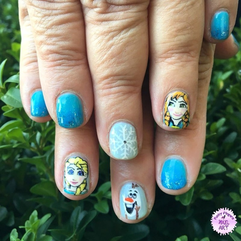 Frozen nails  nail art by Funky fingers nail art