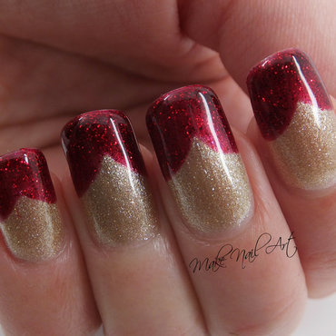 Red And Gold French Manicure nail art by Make Nail Art