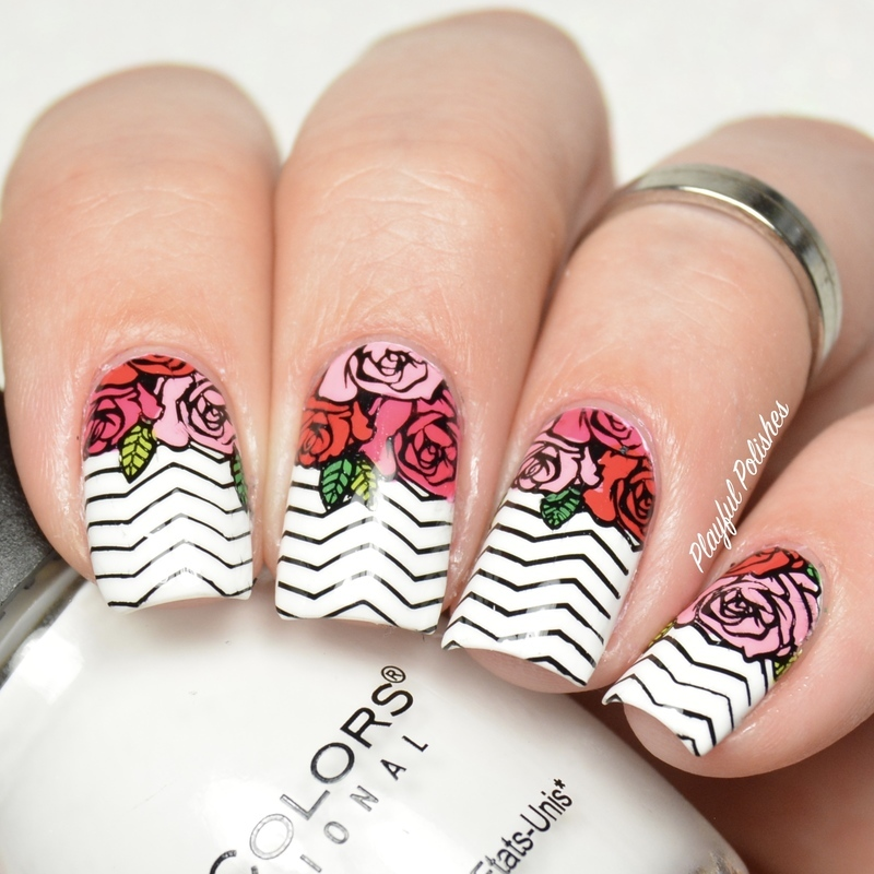 Chevron Rose nail art by Playful Polishes
