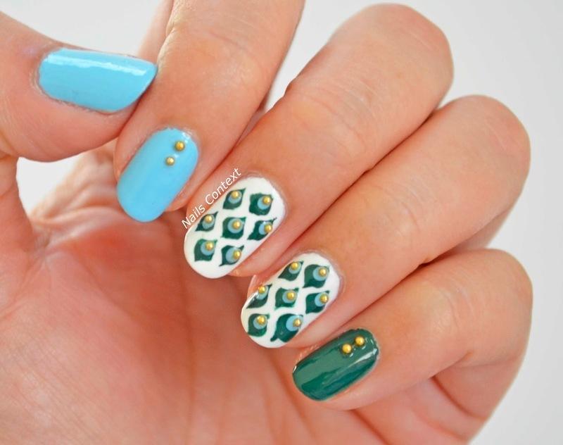 Peacock Nails with Studs  nail art by NailsContext