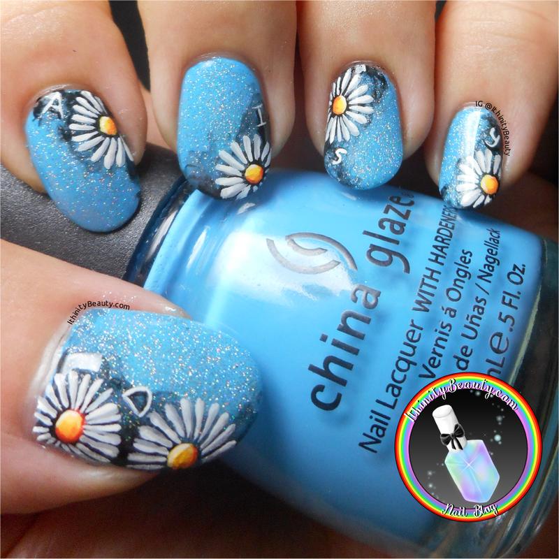 Freehand Daisy Nail Art nail art by Ithfifi Williams