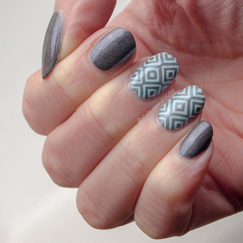 #52weeknailchallenge - week 8: Grey + Blue nail art by What's on my nails today?