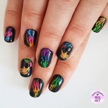 Rainbow neon smoke nails nail art by Funky fingers nail art