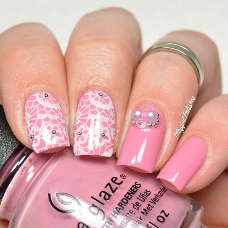 Pink Lace nail art by Playful Polishes