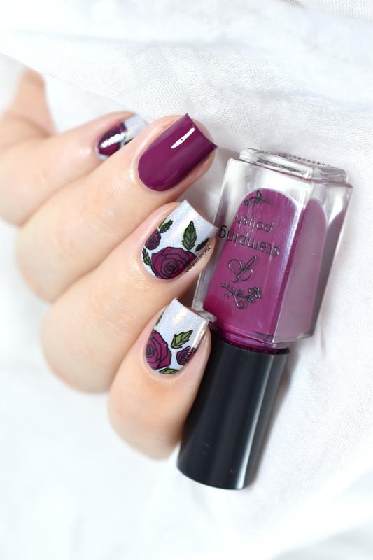 Floral layered stamping nail art by Marine Loves Polish