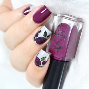 Floral layered stamping nail art by Marine Loves Polish