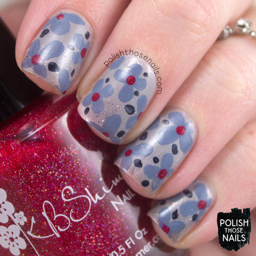 Grey shimmer smoosh floral pattern nail art 4 thumb370f