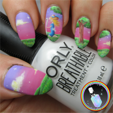 Freehand Little Bo Peep nail art by Ithfifi Williams