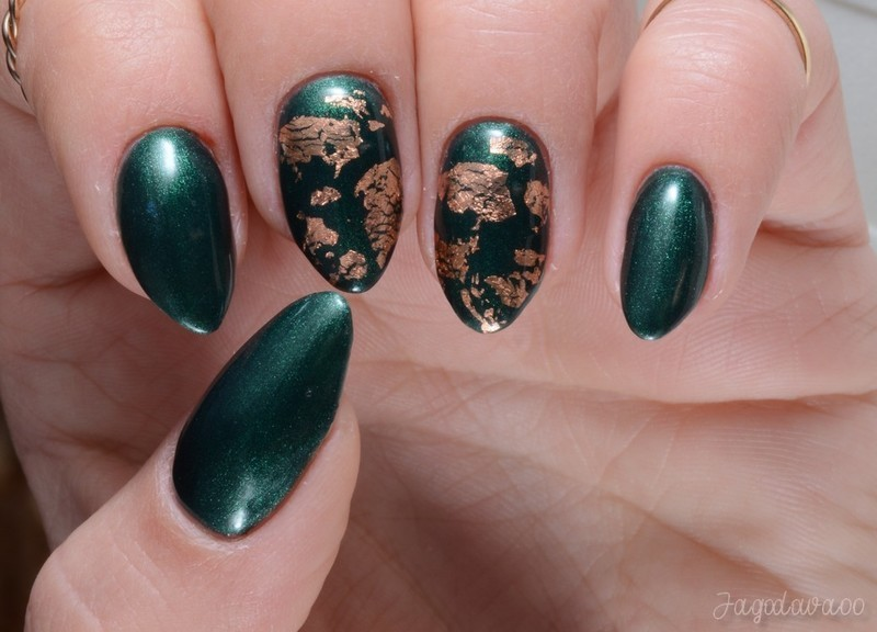 Gold foil on deep green  nail art by Jadwiga
