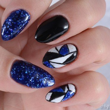 Glitter blue geometry nail art by Jadwiga